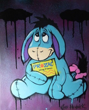 eeyore prozac spoof painting pop art cartoon graffiti depression
