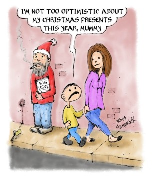 christmas cartoon homeless santa