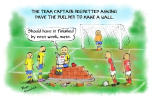football cartoon wall free kick