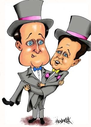 cameron clegg gay marriage wedding caricature