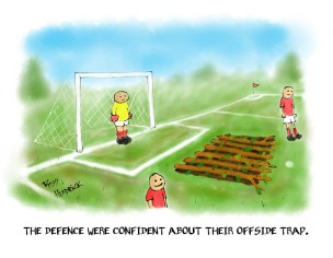 offside trap cartoon football joke