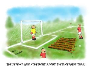 offside trap cartoon football joke