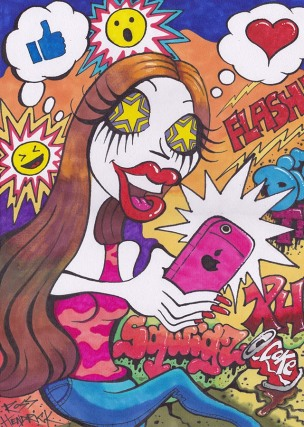 selfie obsessed pop art low brow