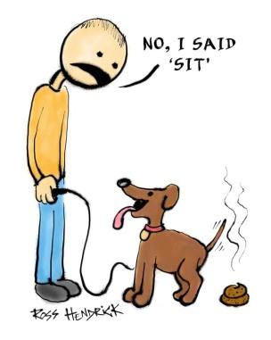 sit dog shit cartoon